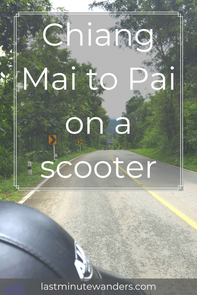 Bike helmet and road stretching away with text overlay - Chiang Mai to Pai on a scooter