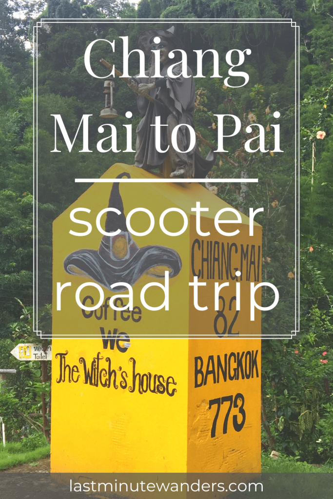 Yellow pillar with witch's hat and directions with text overlay - Chiang Mai to Pai scooter road trip