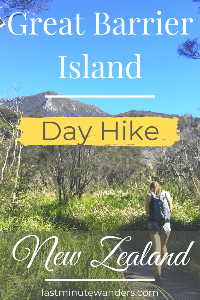 Woman walking through wetland with mountains ahead and text overlay: Great Barrier Island day hike, New Zealand.