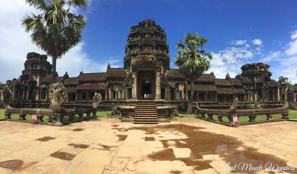 Cambodian stone temple gateway