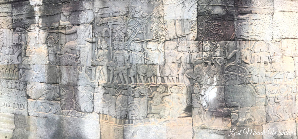 Bas relief on stone wall