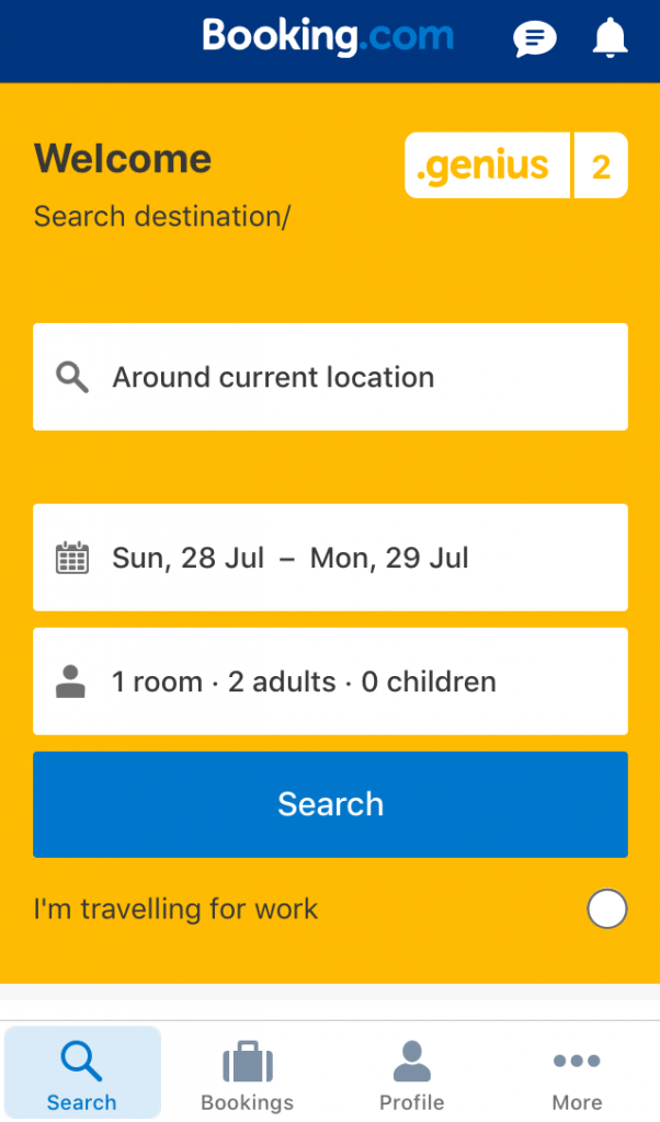 Booking app screenshot