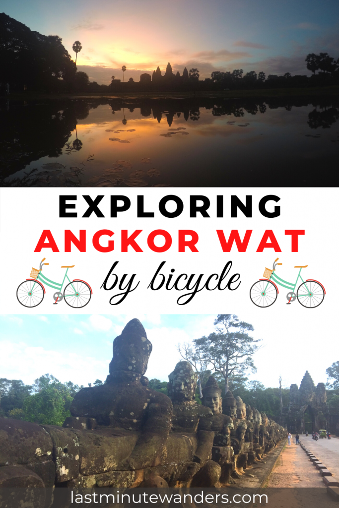 Split image: top image shows a large temple silhouetted against the sunrise and reflected in a pool, bottom image shows stone carvings of people leading to a stone gate. Text reads: Exploring Angkor Wat by bicycle.