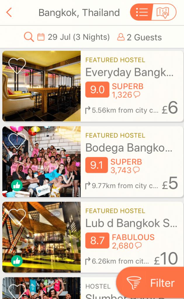 Hostelworld app screenshot