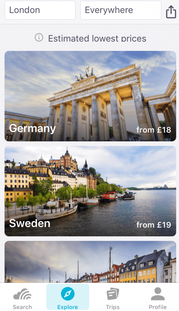 Skyscanner app screenshot