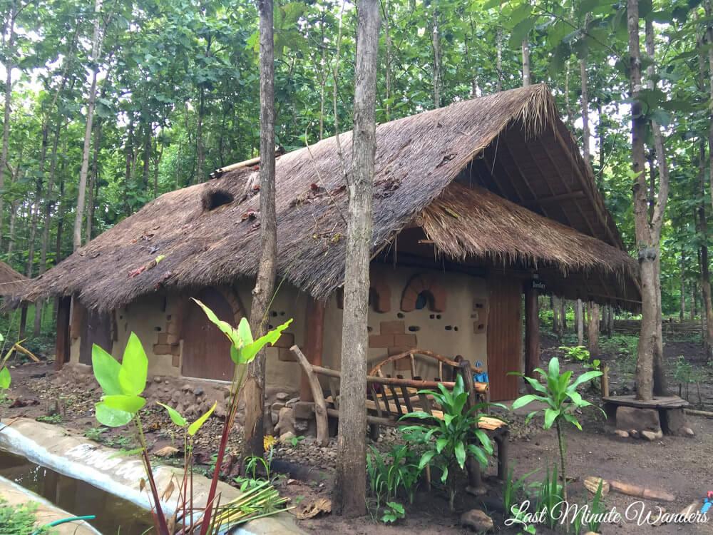 Earth brick dorm in jungle