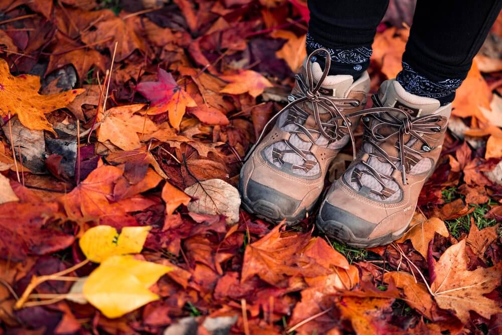 Hiking boots on autumn leaves