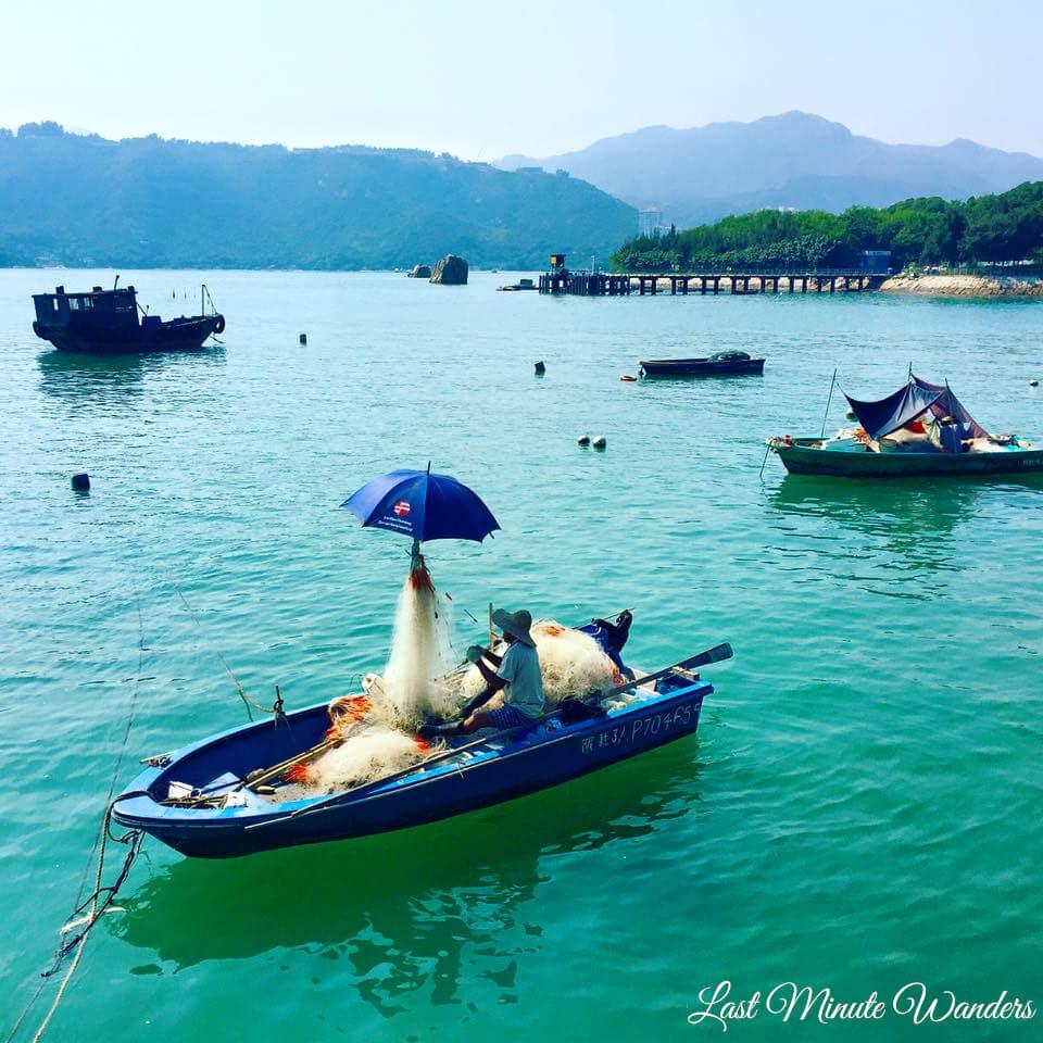 Small fishing boats near island