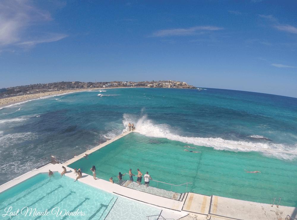 Waves crashing on swimming pool