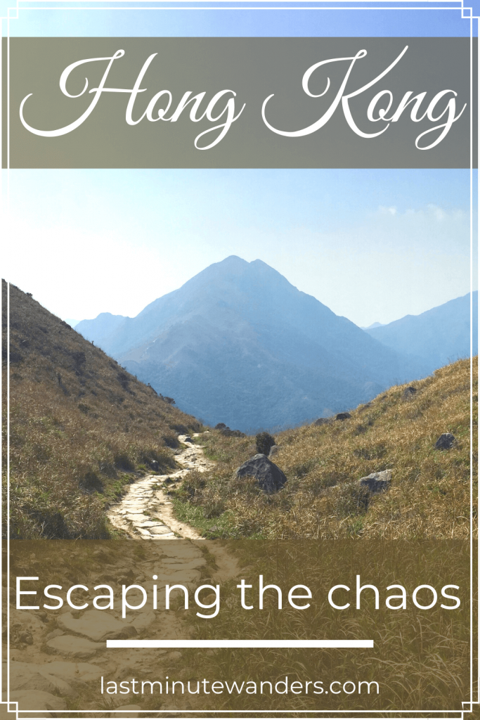 Mountain with path and text overlay - Hong Kong escaping the chaos