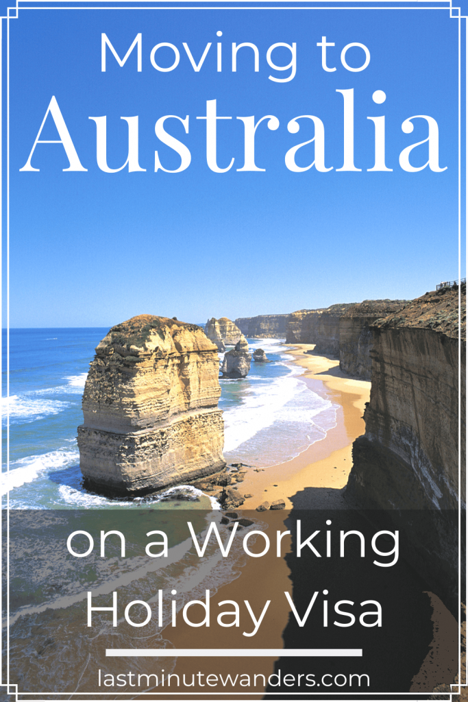 Coastal cliffs and rocks with text overlay - Moving to Australia on a Working Holiday Visa