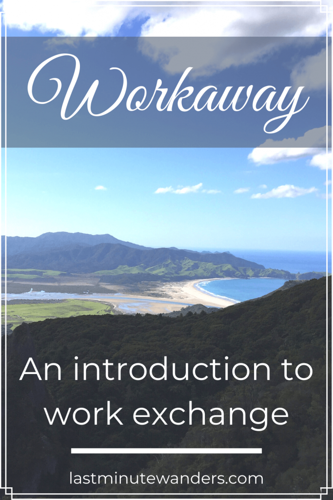 View of beach and mountains with text overlay - Workaway: an introduction to work exchange