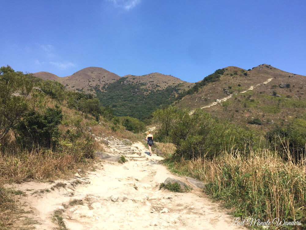 Woman on hiking track going up mountain