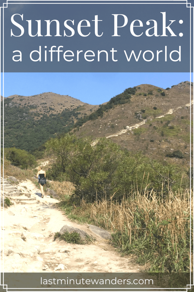 Woman walking up mountain track with text overlay - Sunset Peak: a different world