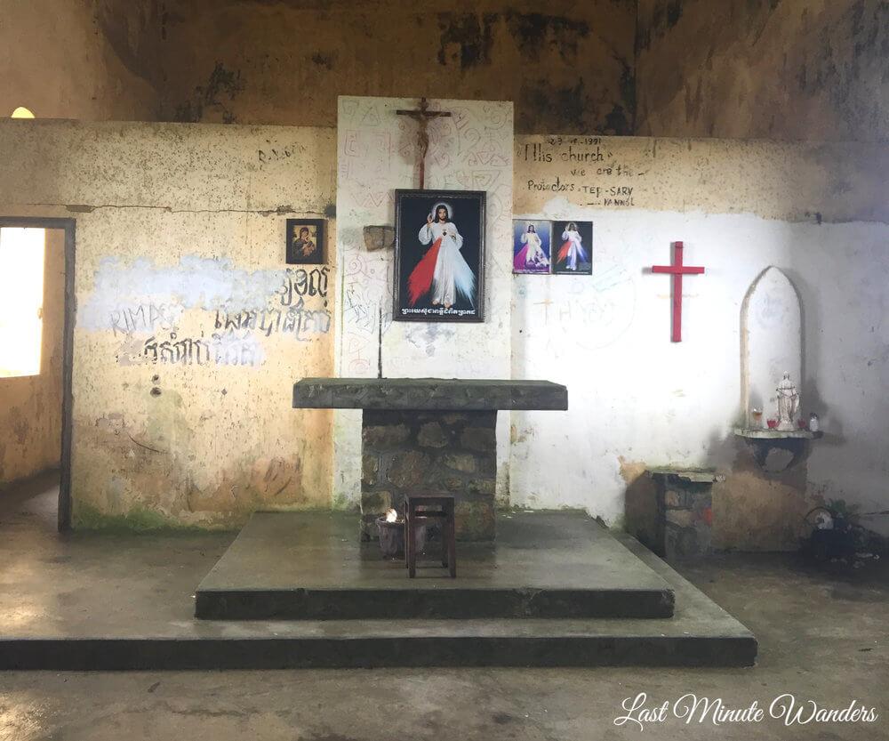 Graffiti inside abandoned church