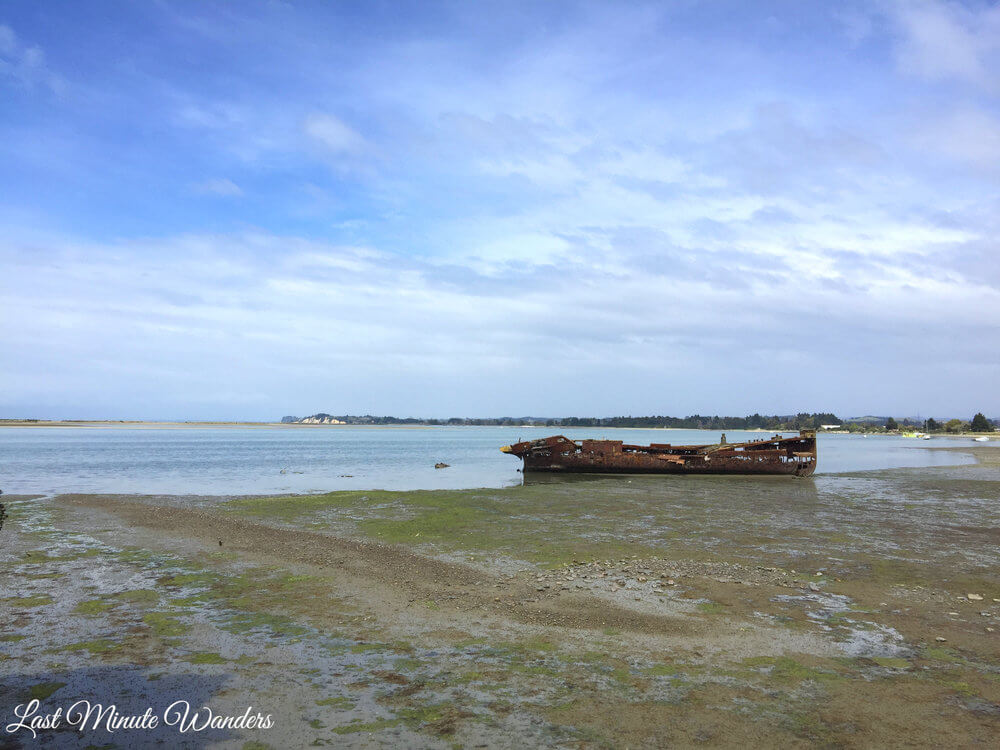 Rusted shipwreck on beach