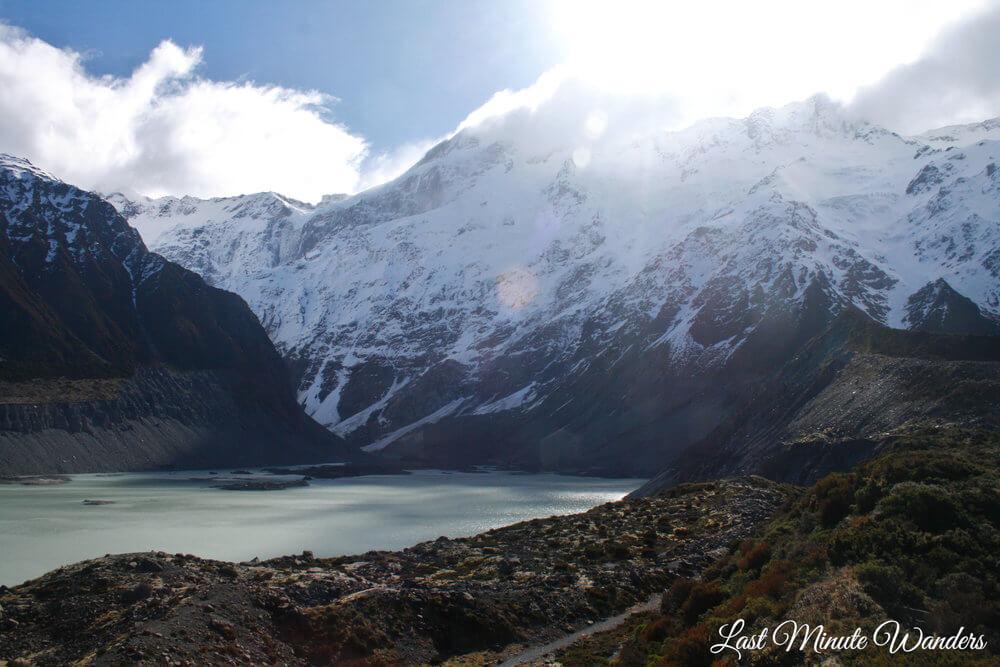 Snowy mountain above lake