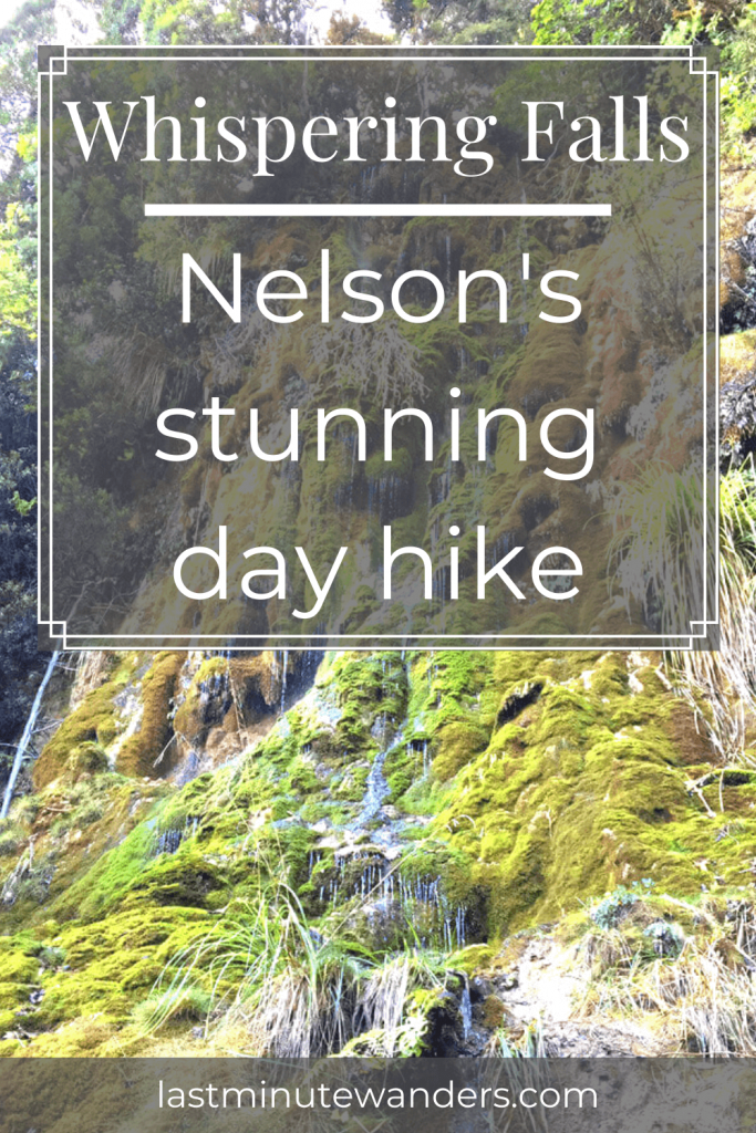 Light, mossy waterfall with text overlay - Whispering Falls: Nelson's stunning day hike