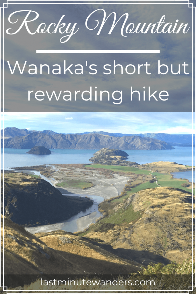 Lake and mountain view with text overlay - Rocky Mountain: Wanaka's short but rewarding hike