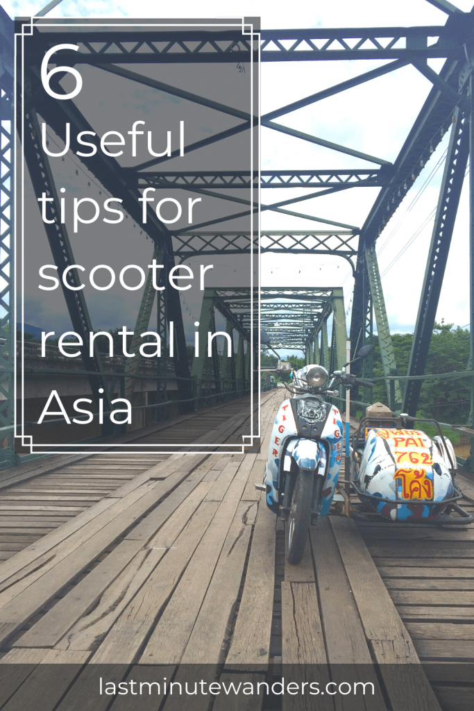 Motorbike and sidecar on metal bridge with text overlay - 6 useful tips for scooter rental in Asia