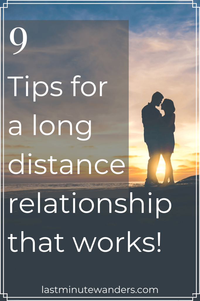 Silhouette of couple on beach with text overlay - 9 tips for a long distance relationship that works