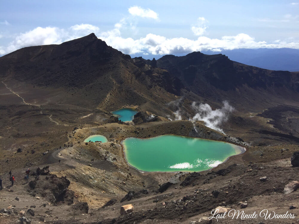 Emerald green lakes in mountains