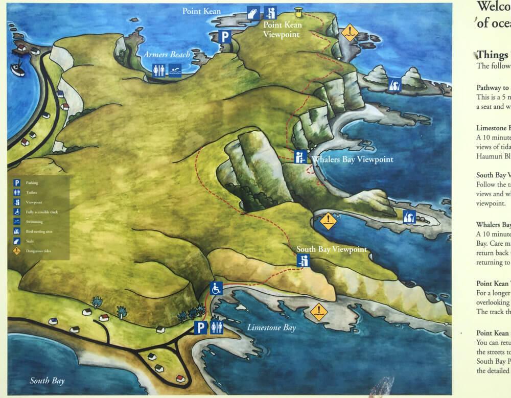 Illustrated map of Kaikoura peninsula