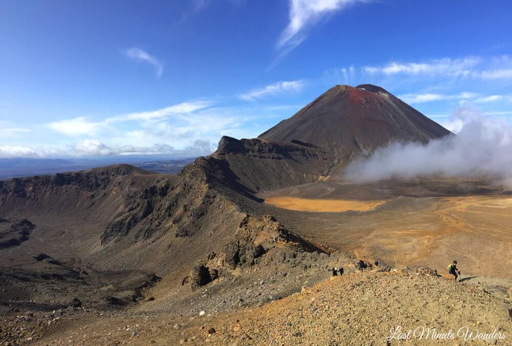View of volcano and crater
