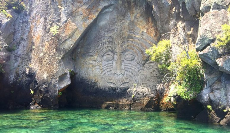 Lake Taupō's impressive Māori rock carving