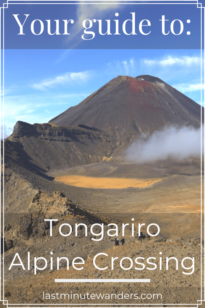 Volcano and crater with text overlay - Your guide to: Tongariro Alpine Crossing