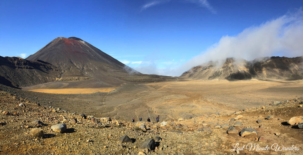 Volcano cone and crater