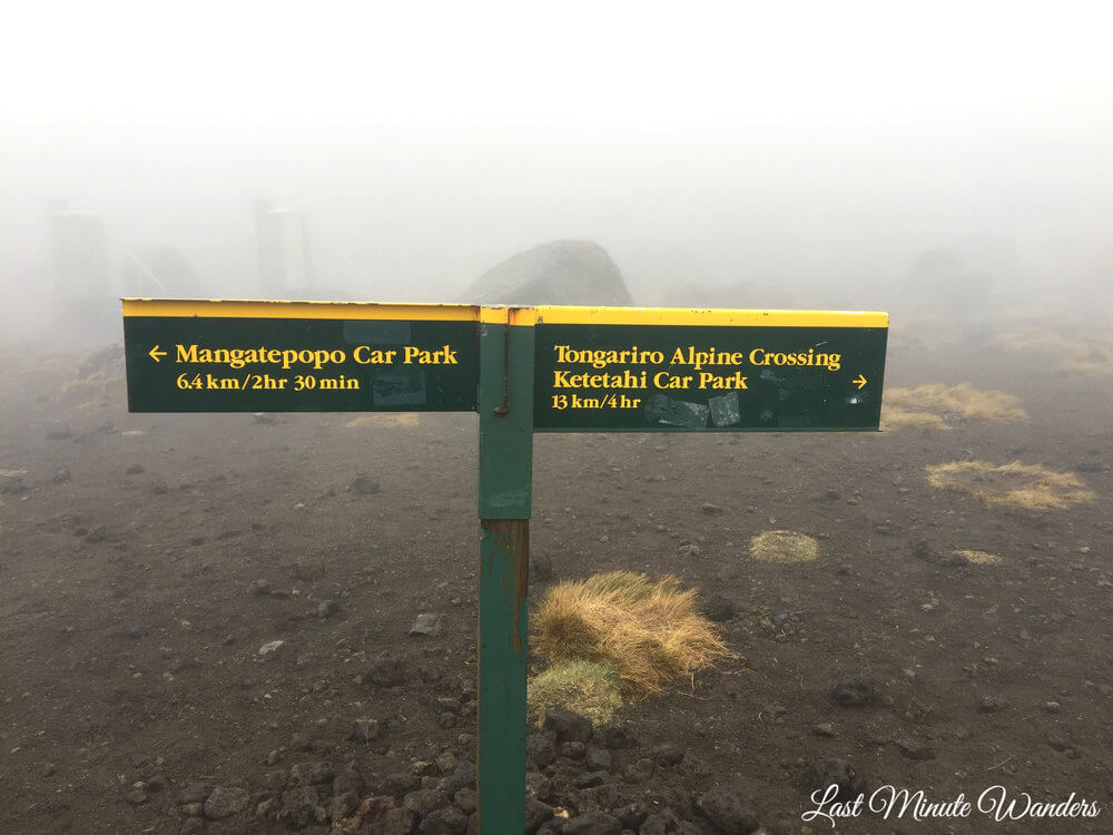 Sign for each end of hike in the fog