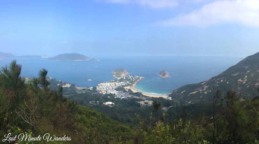 View from mountain over beach and sea