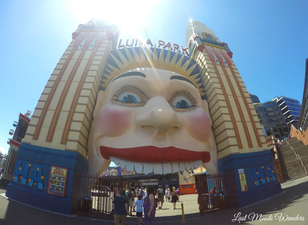 Large smiling face entrance to Luna Park