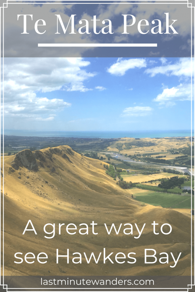 View of hill ridge and sea with text overlay - Te Mata Peak: a great way to see Hawkes Bay