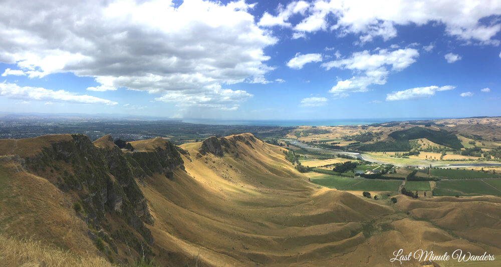 View of mountain ridge to sea