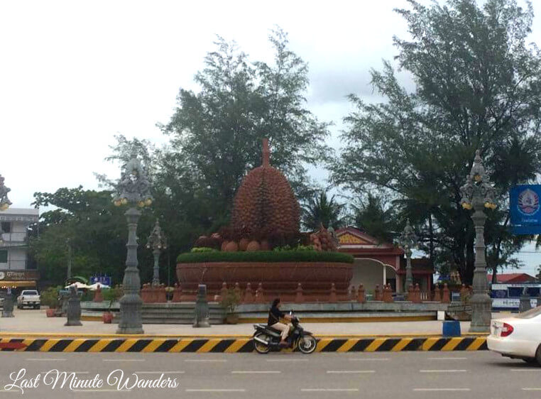 View of durian statue in roundabout