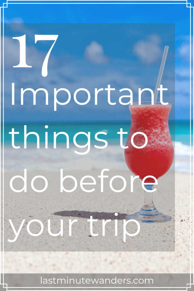 Red cocktail on beach with text overlay - 17 Important things to do before your trip