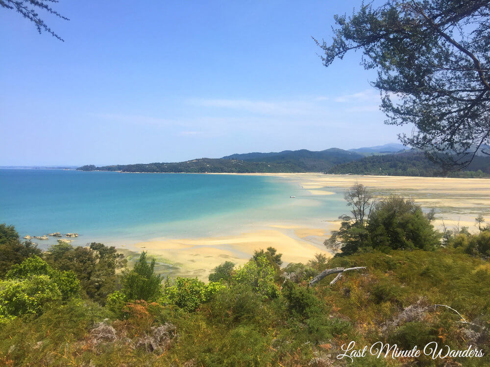 View over yellow sand beach