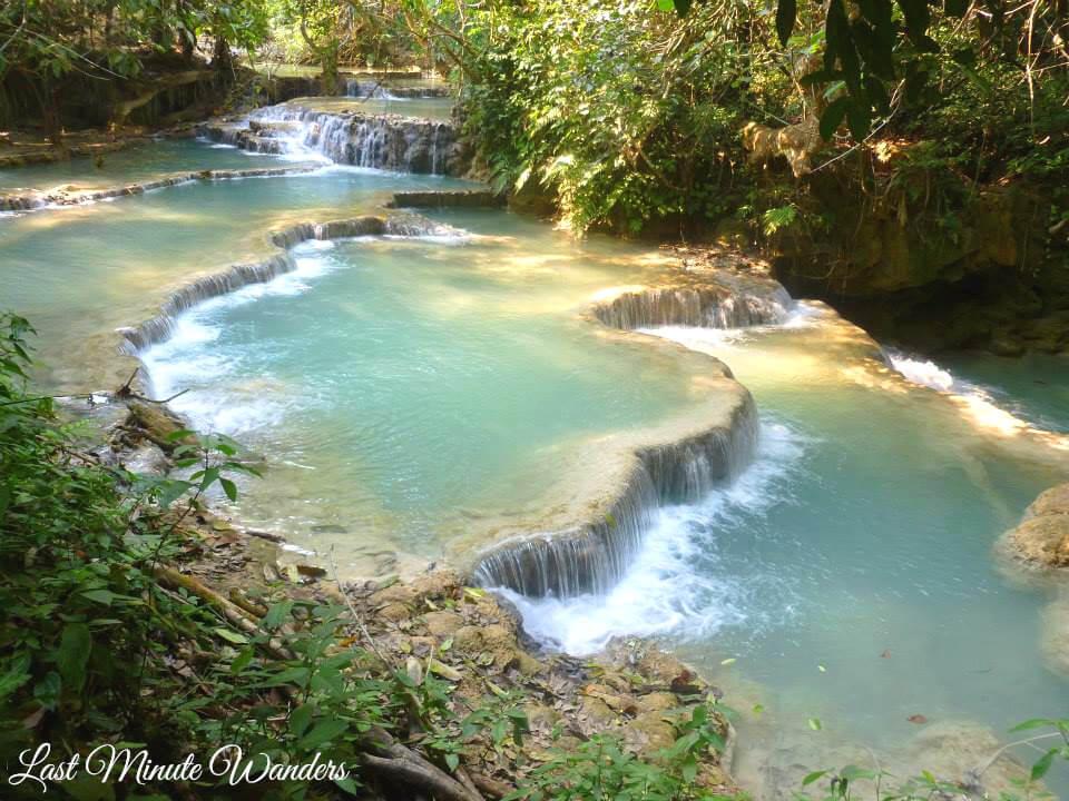 Multi-layered waterfalls in Laos, Southeast Asia