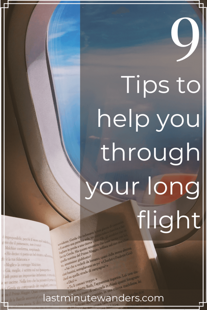 Book below airplane window with text overlay - 9 tips to help you through your long flight
