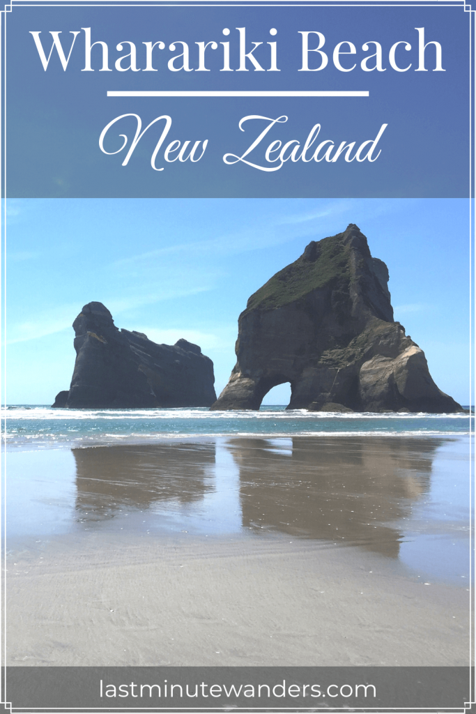 Beach and islands with archway and text overlay - Wharariki Beach, New Zealand