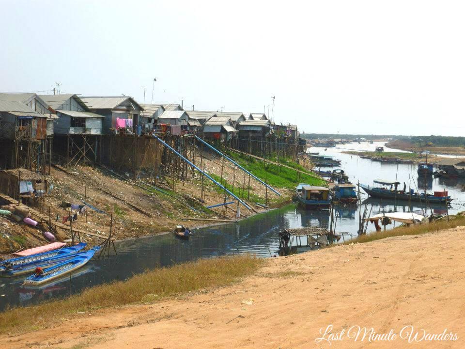 Stilt village by river
