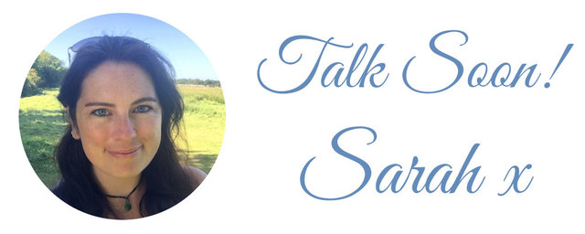 Round icon of woman's face with text - Talk soon! Sarah