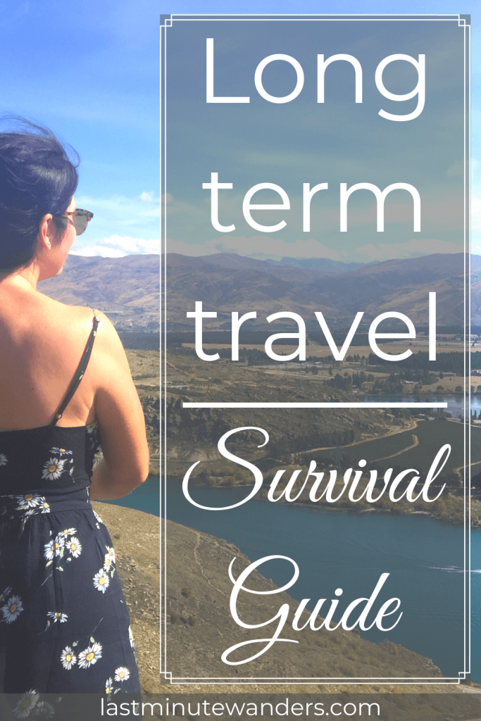 Woman looking over view of river with text overlay - Long term travel survival guide