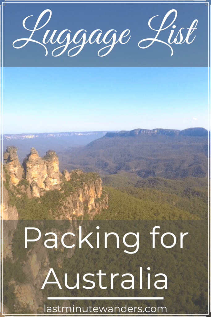 View of rock formations, mountain and valley with text overlay- Luggage List Packing for Australia