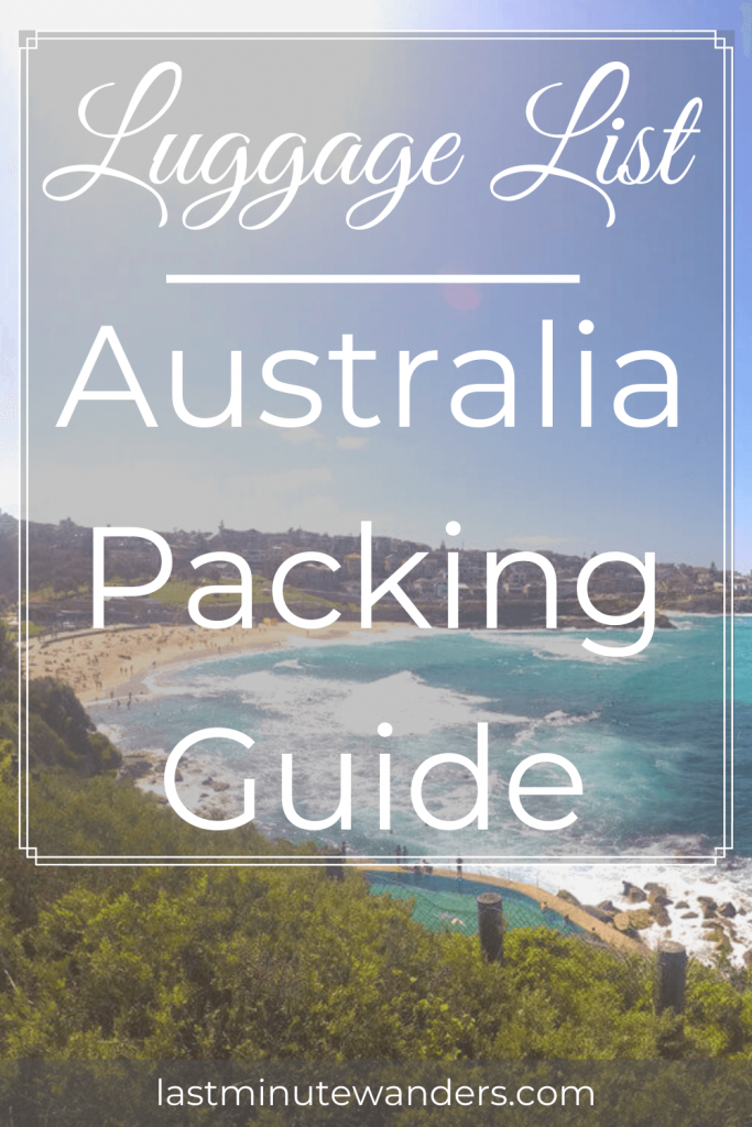 View of beach from cliff with text overlay - Luggage List Australia Packing Guide