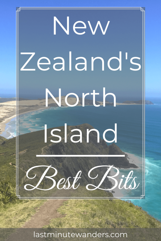 View of coastal cliff and sand spit with text overlay - New Zealand's North Island best bits