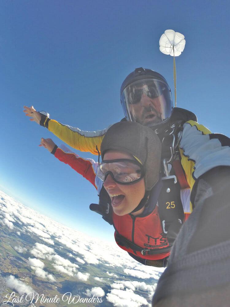 Tandem skydivers mid-fall