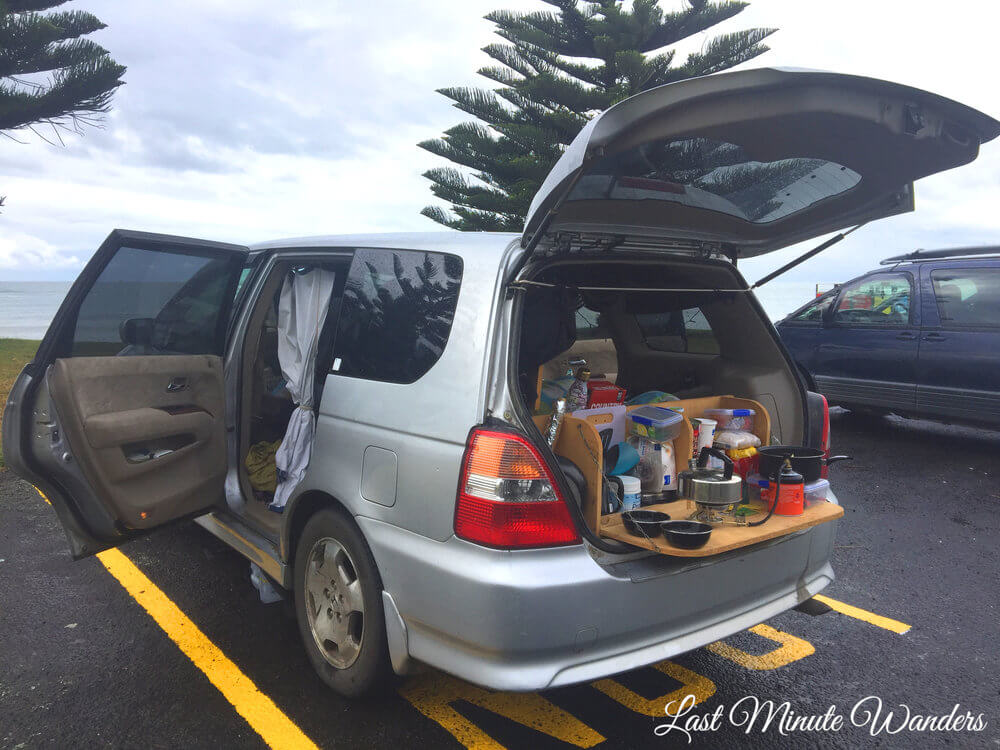 Car boot open with cooking equipment